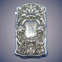 Lion motif match safe, sterling by Battin & Co. c. 1900