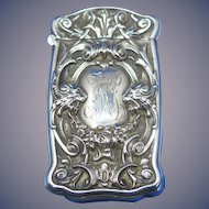 Lion motif match safe, sterling by Battin & Co. c. 1900