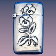 Bold floral motif match safe, sterling by Wm. Wilson & Son., cat. #27c, c. 1890
