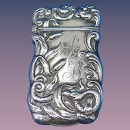 Snake and cattail motif match safe, sterling by F. S. Gilbert, c. 1900