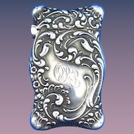 Foliate motif match safe, sterling by Unger Bros, cat. #2555, c. 1904