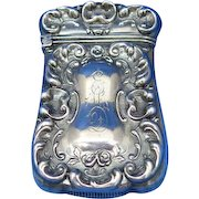 Rococo motif match safe, sterling with a gold gilted interior, c. 1900