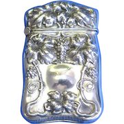 Grape vine motif match safe, sterling by Webster Co., gilted interior, c. 1900