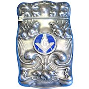 Masonic and floral motif match safe sterling with trick opening, by F. S. Gilbert, gold gilted interior, c. 1900.