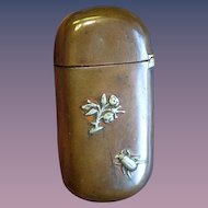 Applied flowering tree & beetle motif match safe, mixed metal, copper and sterling by Gorham Mfg. Co., mfg. no. Y99, c. 1885