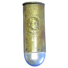 Admiral Dewey, Remember the Maine bullet shaped match safe, brass & aluminum by Metzger & Riedel, 1898