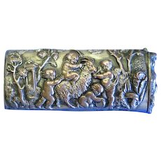 Cherubs playing with a goat motif, match safe, French, applied cast plaque, c. 1890