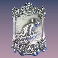 Psyche at Nature's Mirror motif match safe,  sterling by Wm. Kerr, based on painting by Friedrich Paul Thumann, cat. #30, c. 1900