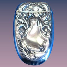 Foliate motif match safe, sterling by R. Wallace & Sons, cat. #378, c. 1900