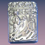 Art Nouveau motif match safe, sterling, gold gilted interior, c. 1900
