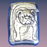 Bulldog motif match safe, sterling by R. Wallace & Sons, gold gilted interior,  cat. #870, c. 1900
