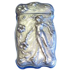 Art Nouveau nude and floral motif match safe, sterling silver, c. 1900, frosted finish
