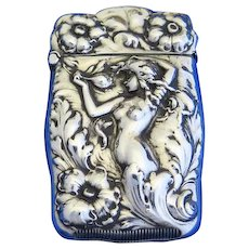 Nude woman and floral motif match safe, sterling, Webster Co., gold gilded interior. c. 1900