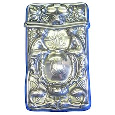Mermaids and stylized fish motif match safe, sterling by Gorham Mfg. Co., cat. B2512, c. 1900