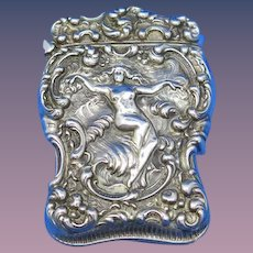 Aphrodite Rising From the Waves motif match safe, sterling by Unger Bros., gold gilted interior, cat. #2589, c. 1904