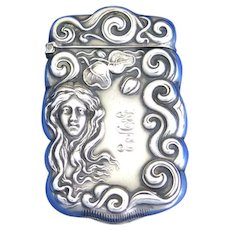 Art Nouveau lady & scroll edge design, sterling by F. S. Gilbert, gold gilted interior, c. 1900
