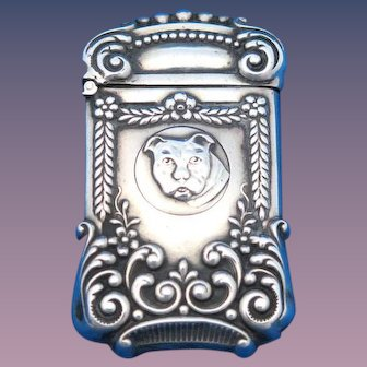 Trick opening match safe with bulldog motif, sterling by F. S. Gilbert, c. 1900