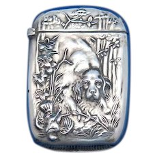Hunting dog & quail motif match safe, sterling, gold gilted interior, c. 1900