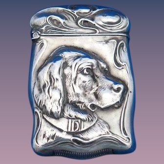Dog motif match safe, sterling by F. S. Gilbert, gold gilted interior, c. 1900