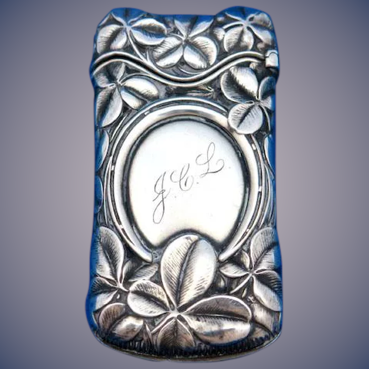 Good luck, four leaf clover, horseshoe motif match safe, sterling by  Whiting Mfg  Co , #619, c  1900