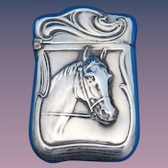Unusual horse motif match safe, sterling, c. 1900