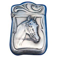 Unusual horse motif match safe, sterling, c. 1900