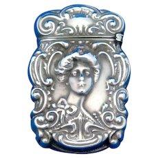 Art Nouveau female image match safe, sterlinE by James E. Blake Co, C. 1900