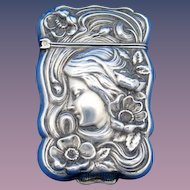 Art Nouveau female image with flowers match safe, sterling, c. 1900