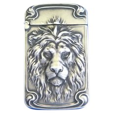 Lion motif match safe, sterling by Unger Bros., gold gilded interior, #3235, featured in 1905-06 catalog