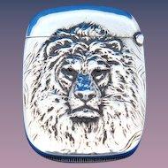 Lion motif match safe, sterling by Aikin, Lambert & Co. gold gilted interion, c. 1900