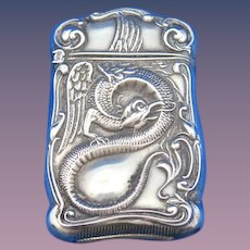 Cockatrice/serpent motif match safe, sterling by F. S. Gilbert, c. 1900