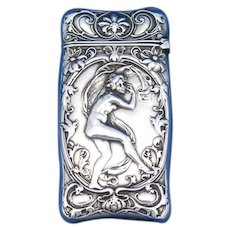 Nude female, Danseuse au Voile design match safe, based on relief by Alenandre Charpentier, sterling by Gorham Mfg. Co.. #B2147, c. 1905