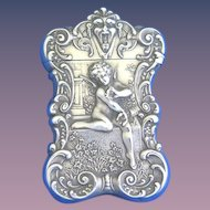 Cupid with Butterfly motif match safe, sterling by Gorham Mfg. Co., based on painting by William Bouguereau, B1305, c. 1898