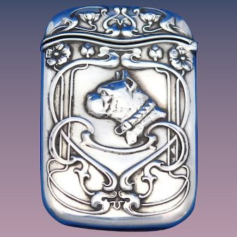 Boston bulldog motif match safe, sterling by Gorham Mfg. Co., #B2202, c. 1900
