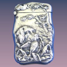 Hunting dog and duck motif match safe with deep repousse' design, sterling  by Wm. Hayden Co., #944, c. 1900