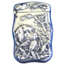 Hunting dog and duck motif match safe with deep repousse' design, sterling  by the Hayden Mfg. Co.,  #944, c. 1900