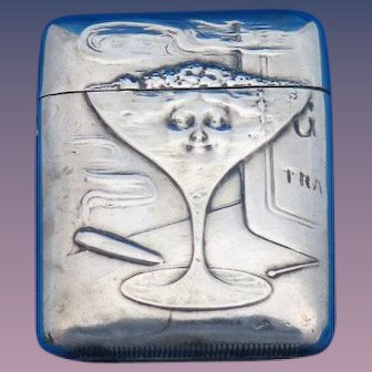 Champagne glass, smoking motif match safe, sterling by F. S. Gilbert, c. 1900, very unusual