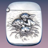 Love's Dream motif match safe, sterling by Unger Bros., cat. #7039, c. 1904