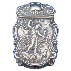 Diana the Huntress motif match safe, sterling by Bristol Mfg. Co., gold gilted interior, c. 1900