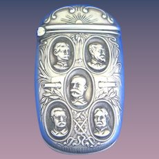Spanish American War heroes-Sampson, Roosevelt, Schley, Hobson, Shafter match safe, sterling by Mauser Mfg. Co., #4103, c. 1900