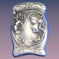Art Nouveau female image with flowers match safe, sterling, by Unger Bros, # 01627, appeared in 1904 catalog