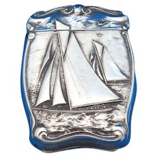 Sailboat motif match safe, sterling by R. Blackinton & Co., gold gilted interior, c. 1900