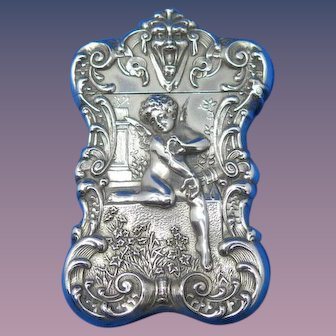 High quality Gorham Cupid with Butterfly motif match safe, sterling, based on painting by William Bouguereau, mfg. #B1305, 1899
