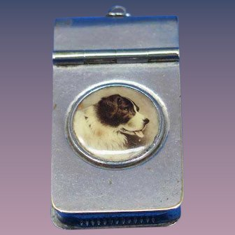 Satchel type match safe with dog's image, nickel plate brass, c. 1895