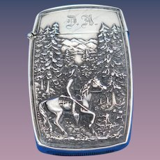 Cowboy on horse back motif match safe, sterling by Battin & Co. #227, c. 1900