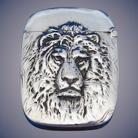 Lion motif match safe, sterling by Aikin, Lambert & Co.,c. 1900