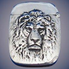 Lion motif match safe, sterling by Aikin, Lambert & Co.,c. 1900