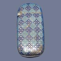 Blue and cobalt blue enamel on sterling match safe by Gorham Mfg. Co. , #475, 1886 date mark