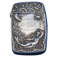 Mermaid and sea life motif match safe, sterling by Battin & Co. #220, dated 1904