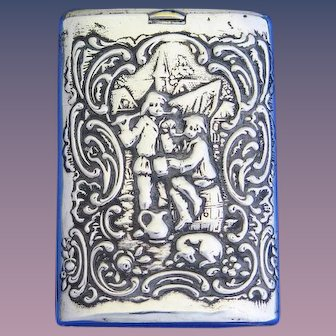 Slide type match safe with Dutch scenes, men drinking/dancing w/ windmill, German marks, 830 silver, c. 1895